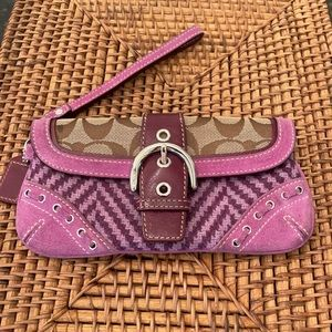 Coach Suede & Tweed Purple Bow Monogram Wristlet